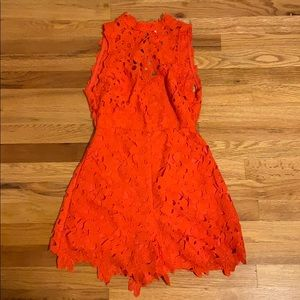 ASTR lacy high neck romper